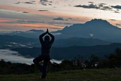 未认出的与京那巴鲁山的女子实践的瑜伽作为backgr 免版税库存图片