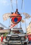 未认出的人民在西哈努克年鉴狂欢节执行 库存照片