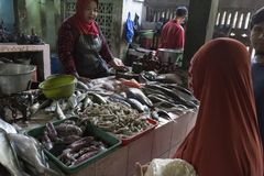 未认出的妇女卖鲜鱼 免版税库存照片