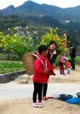 未认出的少数族裔哄骗与油菜籽花篮子在Hagiang,越南 库存图片
