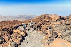 未认出的游人在El泰德峰火山,特内里费岛,西班牙上面走  库存图片