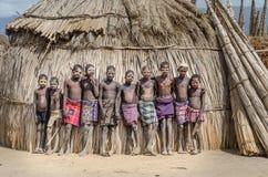 未认出的男孩画象从Arbore部落,埃塞俄比亚的 图库摄影