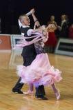 未认出的舞蹈夫妇执行WDSF波儿地克的盛大Prix-2106的少年1标准欧洲节目 免版税库存照片