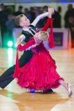 未认出的舞蹈夫妇执行WDSF波儿地克的盛大Prix-2106的少年1标准欧洲节目 免版税图库摄影