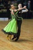 未认出的舞蹈夫妇执行WDSF波儿地克的盛大Prix-2106的少年1标准欧洲节目 库存图片