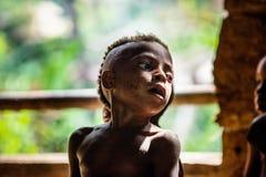未认出的Korowai部落的Papuan小男孩特写镜头画象在新几内亚的密林 免版税库存照片