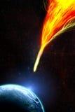 末日审判小行星接地击中主题世界的末端标题 库存照片