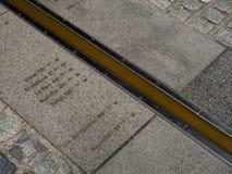 本初子午线标号小条,格林威治,伦敦 免版税库存照片
