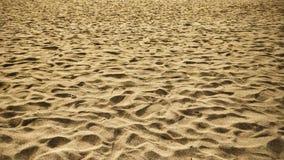 本地治里天堂与脚步的海滩沙子 库存图片