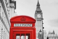 本大配件箱伦敦红色电话英国 伦敦英国 免版税库存照片
