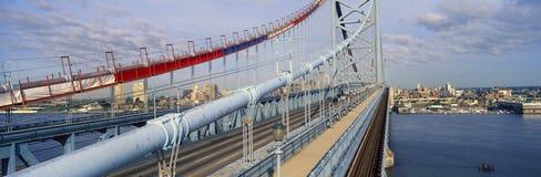本富兰克林桥梁全景在特拉华河的向费城, PA如被看见从坎登NJ 图库摄影