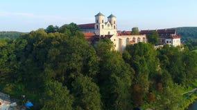本尼迪克特的修道院在Tyniec和维斯瓦河,克拉科夫,波兰 股票录像