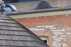 本尼迪克特的修道院- Tyniec,波兰砖墙。 库存照片