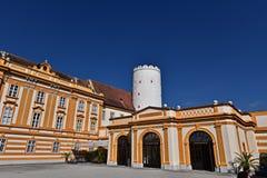 本尼迪克特的修道院Melk第一个庭院 免版税库存图片
