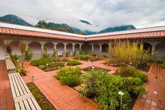 本尼迪克特的欧洲修道院Aich,奥地利修道院草本庭院  库存照片