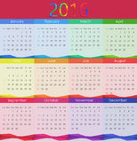 2016本日历传染媒介例证 新年度 免版税库存照片
