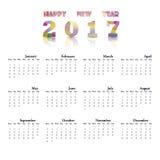 2017本日历模板 日历2017年 免版税库存图片