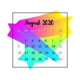 2020本日历设计摘要概念 2020年8月 皇族释放例证