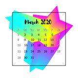 2020本日历设计摘要概念 2020年3月 皇族释放例证