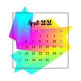 2020本日历设计摘要概念 2020年4月 皇族释放例证