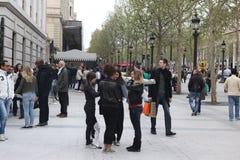 本机和tourisrs在大道des冠军伊利 库存图片
