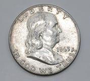 1963年本杰明・富兰克林美国人半元 免版税库存照片