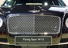 本特利系列飞行踢马刺W12豪华汽车前面格栅  库存图片