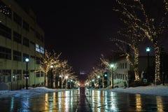 本町倾斜夜视图  图库摄影