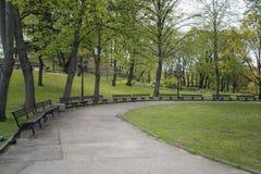本营小山和公园在里加 拉脱维亚 库存照片