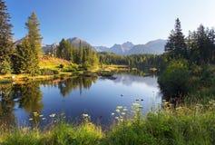 本质与美丽的湖的山场面在斯洛伐克Tatra 免版税库存照片