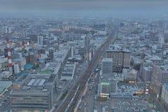 札幌,日本都市风景在中央病区里 图库摄影
