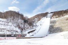 札幌,日本, 2018年1月28日:Okurayama跃迁滑雪体育场 免版税图库摄影
