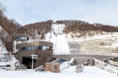 札幌,日本, 2018年1月28日:Okurayama跃迁滑雪体育场 库存图片