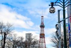 札幌,日本- 2015年12月22日:大厦aro街道视图  免版税库存照片