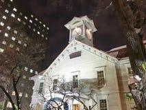札幌,日本- DEC 17日2016年:一座符号钟楼在札幌 免版税库存照片
