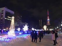 札幌,日本- DEC 17日2016年:圣诞节在Odori公园庆祝 库存图片