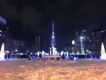 札幌,日本- DEC 17日2016年:圣诞节在Odori公园庆祝 免版税库存照片