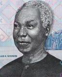 朱利叶斯・尼雷尔面对在1000坦桑尼亚先令特写镜头的画象m 库存图片
