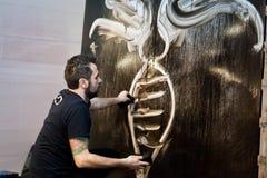 朱利奥Masieri,当代艺术家,执行 库存图片
