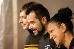 朱利奥Masieri, Michela Grena和罗伯特在Audiopaint表现以后的Drumo Vignandel 免版税库存图片