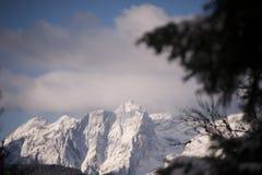 朱利安阿尔卑斯山山景在冬天, Mt Stenar和Mt Kriz 库存照片