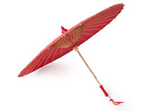 朱红色的上油纸张伞 免版税库存照片