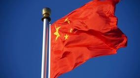 朱红色的旗子在风&蓝天振翼 股票视频