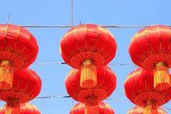 朱红色的灯在春节 免版税库存图片