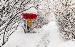 朱红色的灯笼东北雪树 库存照片