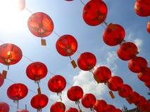 朱红色的灯笼乔治城槟榔岛马来西亚 免版税库存照片