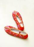 朱红色的鞋子 库存图片