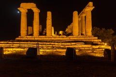 朱诺寺庙在阿哥里根托考古学公园 图库摄影