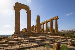 朱诺寺庙寺庙的谷的,阿哥里根托,意大利 免版税库存照片