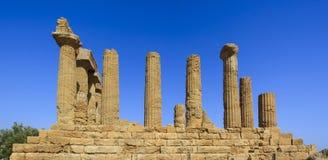 朱诺希腊寺庙在阿哥里根托-西西里岛,意大利 免版税库存照片